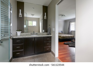 Modern master bathroom next to a bedroom. Interior design.