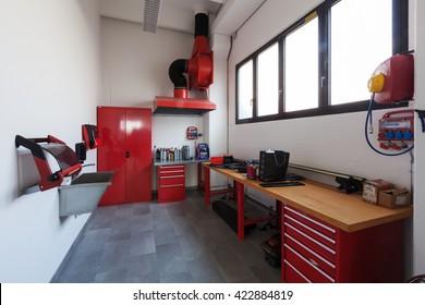 Modern mechanical workshop interior, nobody inside