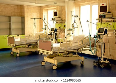 modern medical bed and a special device in the modern ward of resuscitation in the hospital (patient recovery, death - concept)