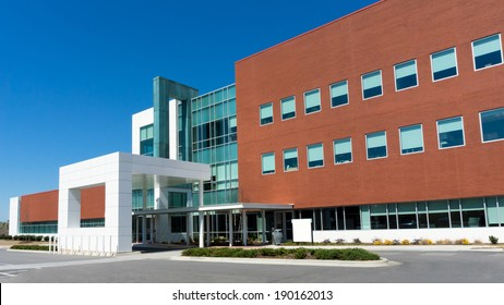 Modern medical center building exterior detail