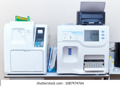 Modern medical laboratory. Medical equipment for analysis. Blood tested for AIDS and other diseases. Determination of DNA.