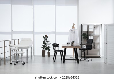 Modern medical office interior with doctor's workplace
