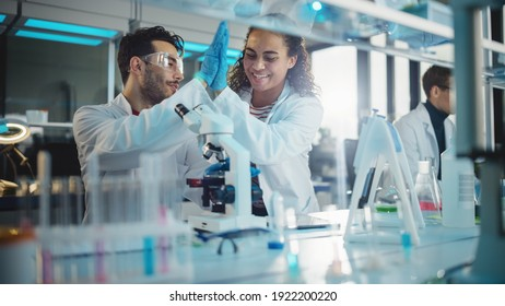 Modern Medical Research Laboratory: Portrait of Latin, Black Young Scientists Using Microscope and Giving High Five after Receiving Successful Results. Diverse Team of Specialists work in Advanced Lab