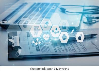 Modern medical technologies concept, clipboard nad medical illustration