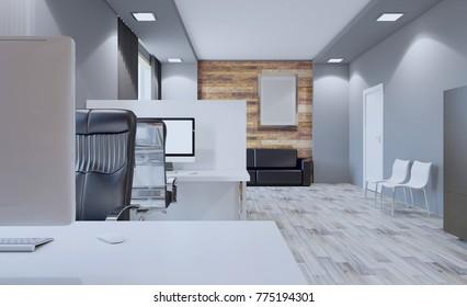 Modern meeting room. 3D rendering. Empty picture