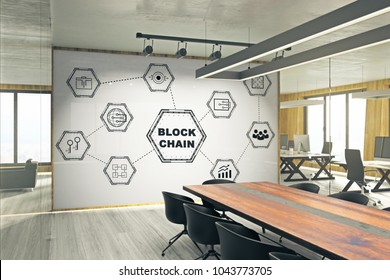 Modern meeting room interior with creative blockchain sketch on whiteboard. Cryptocurrency and e-commerce concept. 3D Rendering