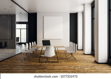 Modern meeting room interior with empty poster on wall. Presentation concept. Mock up, 3D Rendering