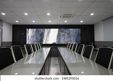 Modern meeting room with large video wall