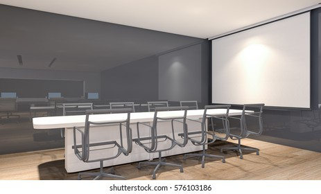 Modern meeting room with projection screen and conference table , 3D rendering