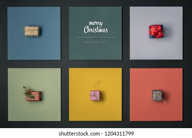 Modern merry Christmas and happy new year greetings in vertical top view colorful frames with gift present boxes design.Xmas winter holiday season social media card background