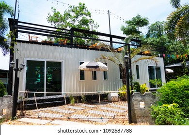Modern metal building made from shipping house containers