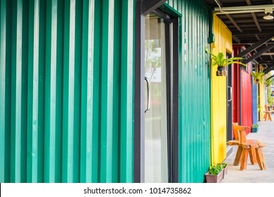 Modern metal building room made from refurbish shipping container.