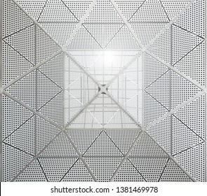 Modern metal ceiling dotted pattern. Sunlight entering the building from the top part of the roof.