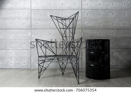 Groovy Modern Metal Chair Concrete Wall Black Royalty Free Stock Dailytribune Chair Design For Home Dailytribuneorg