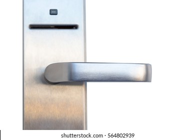 Modern metal door right handle with security system lock