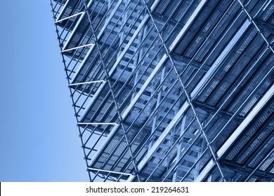 Modern metal scaffolding, blue toned photo