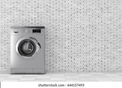 Modern Metalic Washing Machine in front of brick wall. 3d Rendering.
