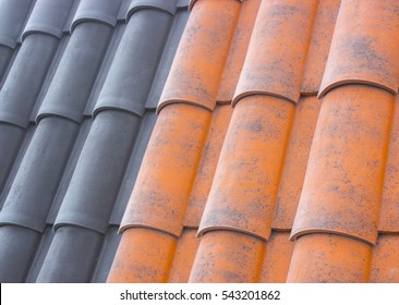 Modern metal-tile roof, roofing, colorful samples for advertising