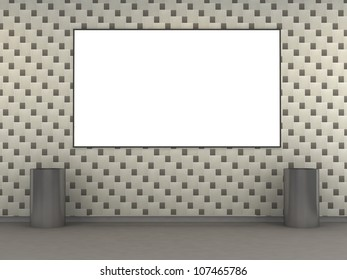 Modern metro station with white tile wall and empty ad space. 3d illustration