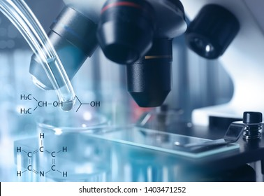 Modern microscope with different lenses, closeup. Chemical research