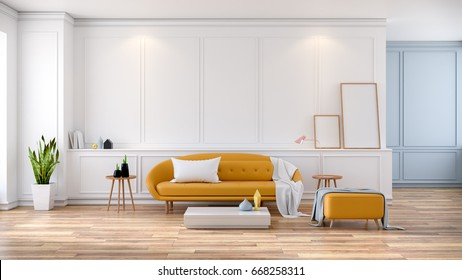 Modern mid Century room interior , Yellow sofa with frame  mock -up on white room,3d rendering