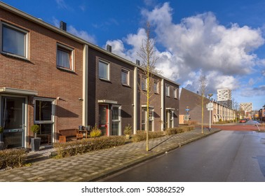 Modern Middle Class Town Houses in a street in the Netherlands, Europe