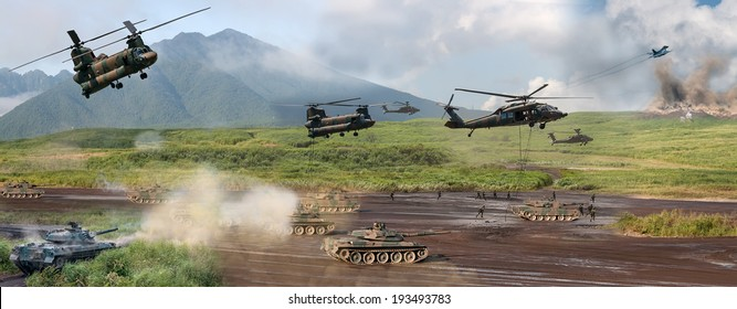Modern military battle scene with tanks, helicopters and infantry