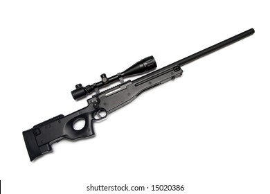 Modern military sniper rifle with riflescope isolated on white background. L96.