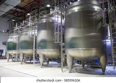 modern milk cellar with stainless steel tanks