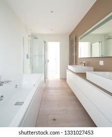 Modern minimal elegant bathroom. Nobody inside