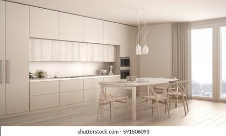 3 D Rendering White Modern Design Kitchen Stock Illustration ...