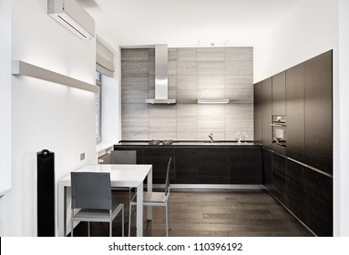 Modern minimalism style kitchen interior in monochrome tones