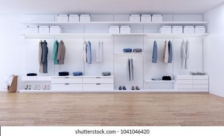 Modern minimalist dressing room, walk- in closet with white wardrobe,3d rendering