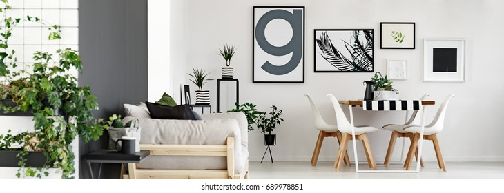 Modern minimalist flat with plants and posters