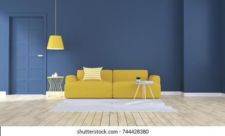 Modern Living Room Interior Design Yellow Stock Photo (Royalty Free ...