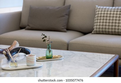 Modern and minimalist style home interiors, Closeup of table