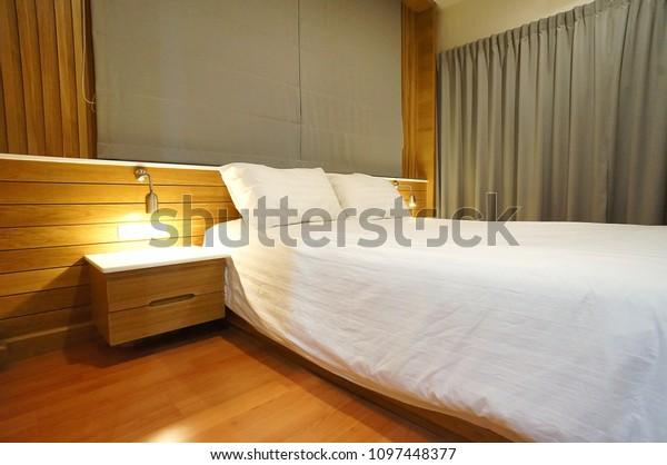 Modern Minimalist Vintage Style Master Bedroom Stock Photo