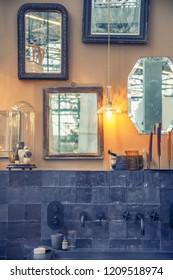 modern mirror decoration in  interior of bath room