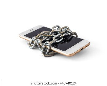 Modern mobile phone with chain locked isolate on white background with clipping path. Concept of social network issues, forgot password, information security, phubbing, addiction