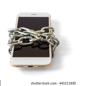 Modern mobile phone with chain locked isolate on white background with copy space and clipping path. Concept of social network issues, forgot password, information security, phubbing, addiction