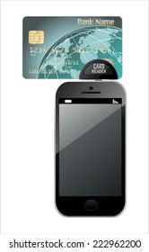 Modern Mobile phone with Credit Card on a white background. (Mini mobile terminal)