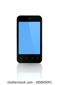 Modern mobile phone with empty screen.Isolated on white.3d rendered.