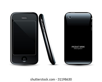 Modern mobile phone - front back and side views - professional icon