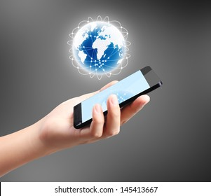 Modern mobile phone in hand