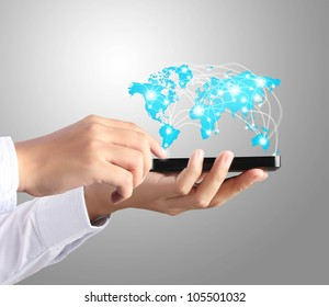 Modern mobile phone in hand  and graph