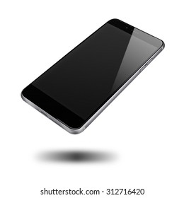 Modern mobile phone iphon style mockup with black screen and shadows isolated on white background. Highly detailed illustration.