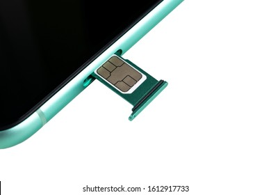 Modern mobile phone and sim card isolated on a white background. Smartphone with nano Sim Card and Card Adapter isolated over white