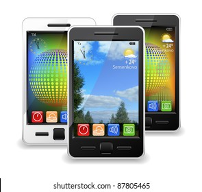 Modern mobile phones are shown in the image.