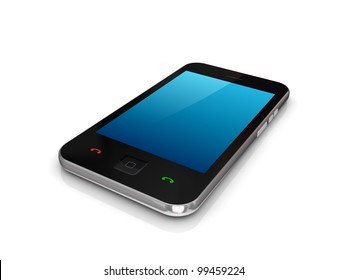 Modern mobile phones with touchscreen.Isolated on white background.