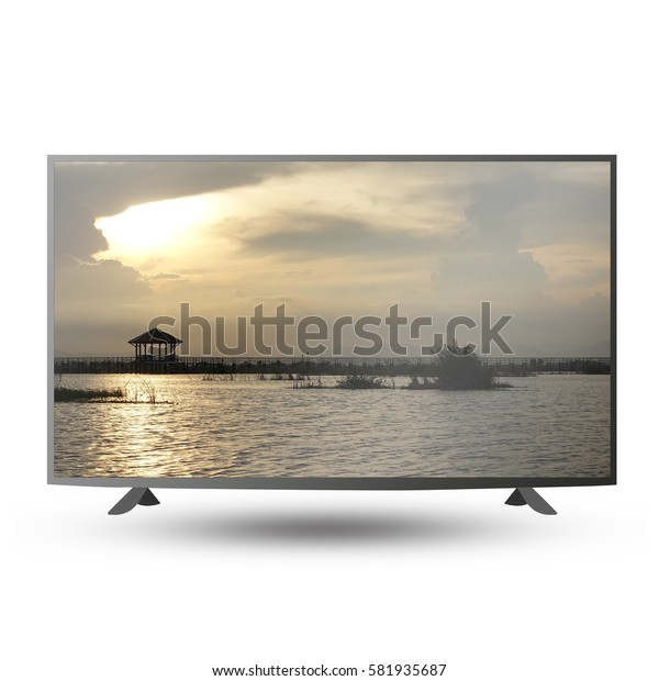 modern monitor isolated on white with clipping path